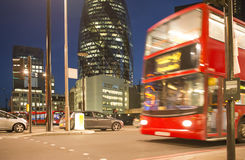 Red Bus in City of London Stock Photography