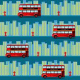 Red bus in the city. Seamless pattern. royalty free illustration