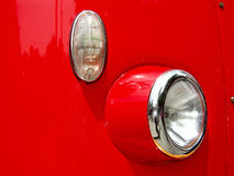 Red bus close-up. Red bus reflector and indicator royalty free stock image