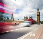 Red Bus crossing Westminster Bridge Stock Photo