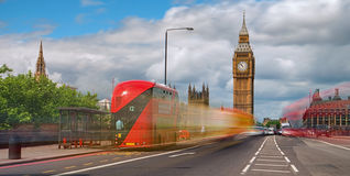 Red bus in front of Big Ben royalty free stock photos