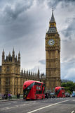 Red bus in front of Big Ben Stock Photography