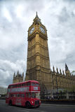Red bus in front of Big Ben Royalty Free Stock Photography