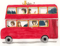 Red bus with girls and cat illustration Royalty Free Stock Photography