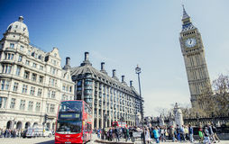 Red bus in Lodon street view with Big Ben, panorama Stock Photography