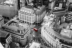 Red Bus London City Aerial View Royalty Free Stock Images