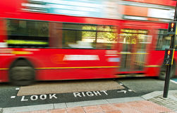 Red bus on the London street. Royalty Free Stock Photo