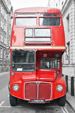 Red bus in London street Royalty Free Stock Images