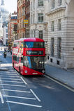 Red bus on the London street Royalty Free Stock Photography