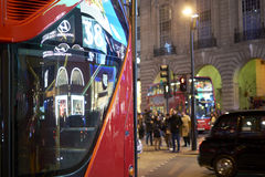 Red bus in Piccadilly Circus Royalty Free Stock Images