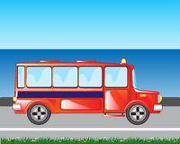 Red bus on road Royalty Free Stock Photo