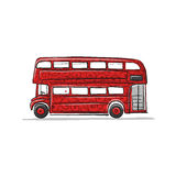 Red bus, sketch for your design. Vector illustration Stock Photography
