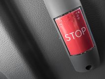 A red bus stop request button royalty free stock images