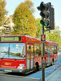 Red bus on the street. Royalty Free Stock Images