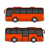 Red Bus Template Set on White Background. Vector Stock Photos