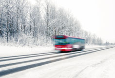 Red bus in winter Royalty Free Stock Images