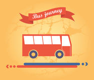 Red bus on a yellow background. With ribbon and arrow direction of the path Royalty Free Stock Photo