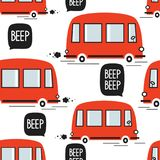 Red buses, seamless pattern stock illustration