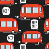 Red buses, seamless pattern vector illustration