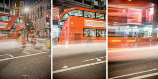 Red Buses speeding up on London streets at night Royalty Free Stock Photo
