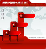 Red business background with three level graph Stock Images