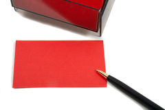 Red Business (blank) card on White with pen. Stock Images