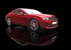Red Business Car On Black Background. High Resolution Render Of A 3D car Stock Images