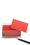 Red Business card in a box on white background Stock Photos