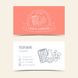 Red business cards for chemical laboratory and scientific companies. Promotional products. Vector Stock Images