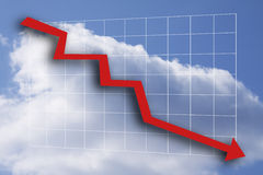 Red business graph pointing down. On background of blue sky and white clouds Royalty Free Stock Image