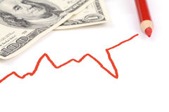 Red Business Graph and US Dollar bills Royalty Free Stock Image