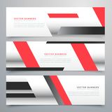 Red business horizontal banners set with geometric shapes Stock Photo