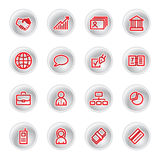 Red business icons. On grey buttons