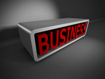 Red BUSINESS text 3d on dark background. Concept 3d render illustration Stock Photo