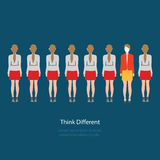 Red business woman standing different grey business women, think Stock Image