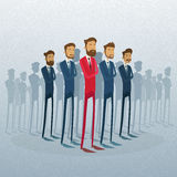 Red Businessman Leader Stand Crowd Individual. With People Group Business Team Concept Vector Illustration stock illustration