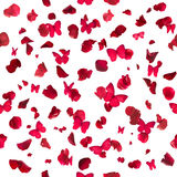Red Butterflies and Rose Petals Stock Photos