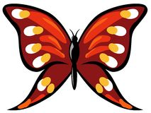 Red butterfly. Isolated red Butterfly ready to fly in spring time, yellow, orange, blue, red colours Royalty Free Stock Images