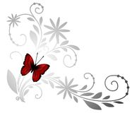 Red butterfly. Floral pattern with red butterfly Stock Photos