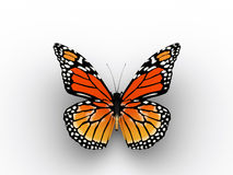 Red butterfly. A red butterfly on white background - 3d render royalty free illustration