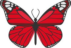 The Red Butterfly. Red butterfly beautiful beauty light animal illustration image fun funny royalty free illustration