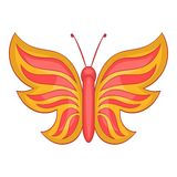 Red butterfly icon, cartoon style. Red butterfly icon. Cartoon illustration of butterfly vector icon for web design Royalty Free Stock Photography