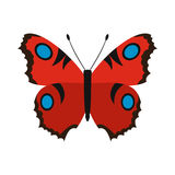 Red butterfly icon in flat style. On a white background Stock Images