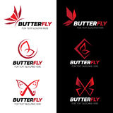 Red Butterfly logo vector set art design Royalty Free Stock Photo