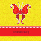 Red butterfly on a yellow background Stock Photo