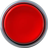 Red button. Three dimensional illustration of circular red button isolated on white background Royalty Free Stock Photo