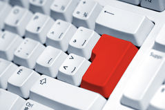 Red button. Computer keyboard with a blank red button Royalty Free Stock Photography
