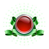 Red button. The red button and green tape Stock Photography