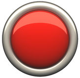 Red button. Shiny red button. 3d rendering royalty free illustration