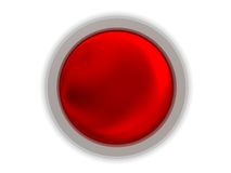Red button. Abstract 3d illustration of gloss red button over white background Stock Photos